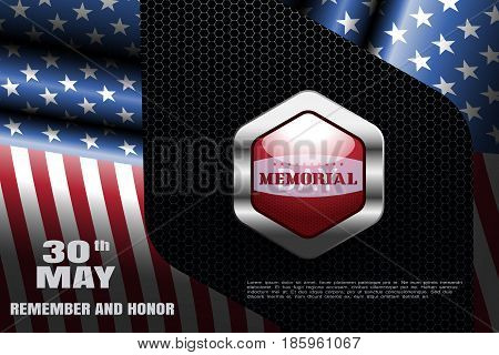 Memorial Day vector wide poster with metal red label with shadow on the dark background with hexagon pattern and frame from american flags.