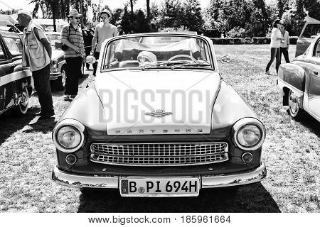 Paaren Im Glien, Germany - May 19: The East German Car Wartburg 311/2 Cabriolet, (black And White),