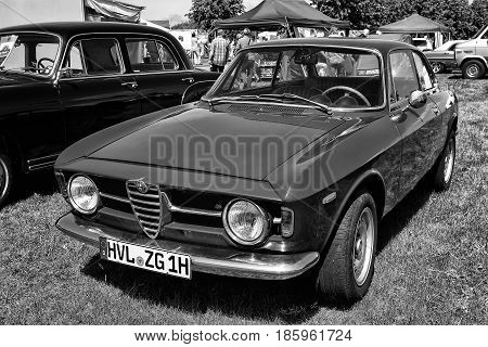 Paaren Im Glien, Germany - May 19: Italian Car Alfa Romeo Gt 1300 Junior, Front View, Black And Whit