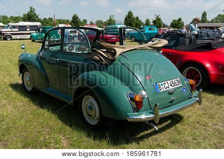 Paaren Im Glien, Germany - May 19: British Car Morris Minor 1000 Convertible, Rear View,