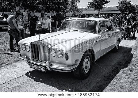 PAAREN IM GLIEN GERMANY - MAY 19: British luxury car Rolls-Royce Silver Shadow (black and white)
