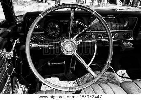 Paaren Im Glien, Germany - May 19: Cab Full-size Car Rambler Ambassador 990 (black And White)
