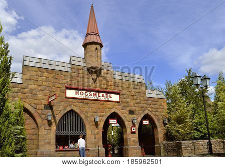 Universal Studios Resort Orlando Florida USA - October 24 2016: Hogsmeade train station for Harry Potter Hogwarts Express