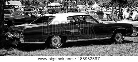 Paaren Im Glien, Germany - May 19: Full-size Car Chevrolet Caprice Coupe 1973 Black And White,