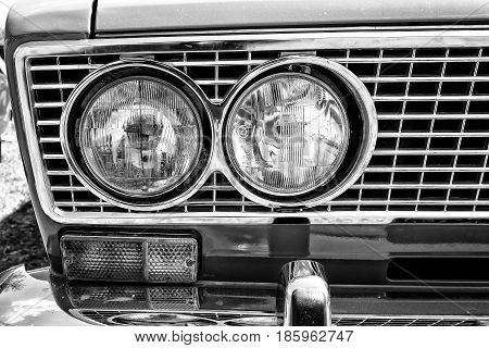 Paaren Im Glien, Germany - May 19: Headlamp Soviet Family Car Vaz-2106, Close-up, Black And White,