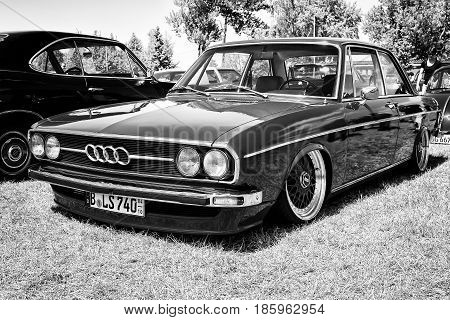 Paaren Im Glien, Germany - May 19: Compact Executive Car Audi 80 B1, Black And White