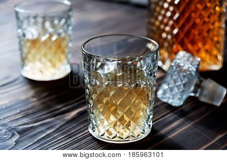 Crystal Decanter. Crystal Glasses. Brandy, Cognac, Whiskey.