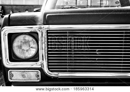 Paaren Im Glien, Germany - May 19: Car Headlamp Chevrolet Ck Pickup Truck (1974), Black And White,