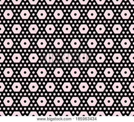 Vector monochrome texture, geometric seamless pattern with different sized hexagons, perforated shapes, honeycombs, hexagonal grid. Stylish abstract background. Design for home decor, textile, fabric