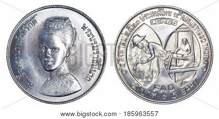 Thailand five baht coin (1980 B.E.2523) isolated on white background.