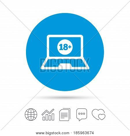Adults content laptop sign icon. Website for adults only symbol. Warning. Copy files, chat speech bubble and chart web icons. Vector