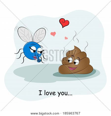 Cute picture of a piece of shit and flies. Couples in love. Vector illustration. Funny card Happy Valentine's Day.