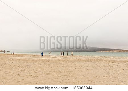 LANGEBAAN SOUTH AFRICA - MARCH 31 2017: Unidentified people in misty conditions on a beach at Langebaan on the Atlantic Coast of the Western Cape Province