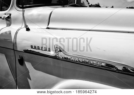 PAAREN IM GLIEN GERMANY - MAY 19: Detail of classic pickup truck Chevrolet Apache 31 (black and white)