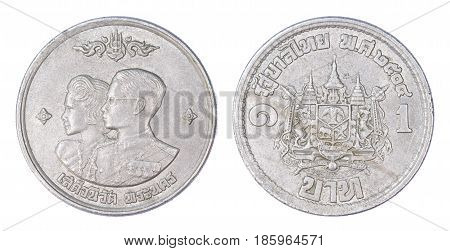 Thailand 1 Baht Coin, (1961 Or B.e. 2504) Isolated On White Background.