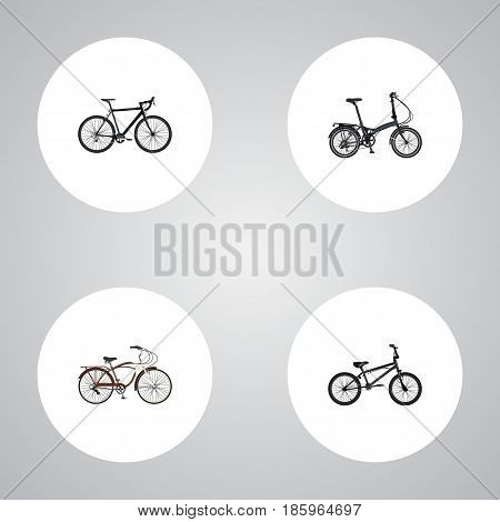 Realistic Extreme Biking, Journey Bike, Cyclocross Drive And Other Vector Elements. Set Of Sport Realistic Symbols Also Includes Extreme, Cyclocross, Bike Objects.