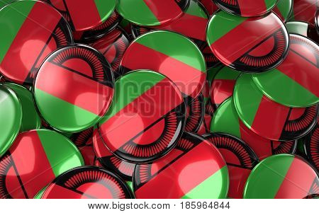 Malawi Badges Background - Pile Of Malawian Flag Buttons.