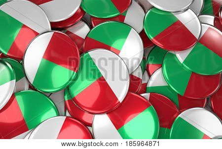 Madagascar Badges Background - Pile Of Madagascar Flag Buttons.