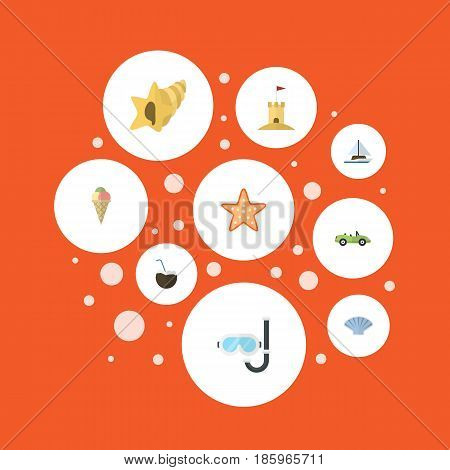 Flat Aqualung, Car, Castle And Other Vector Elements. Set Of Beach Flat Symbols Also Includes Sand, Sink, Palm Objects.
