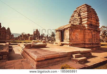 Carved temple of Pattadakal, Karnataka. UNESCO World Heritage site with stone carved structures of 7th and 8th-century, India.