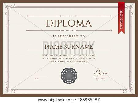 Diploma or Certificate Premium Design Template in Vector