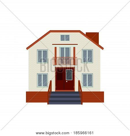 Modern Detailed House Or Villa Front View. Contemporary Real Est