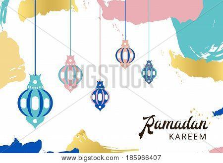 Ramadan Kareem Greeting Banner With Arabic Lamps And Text. Islam