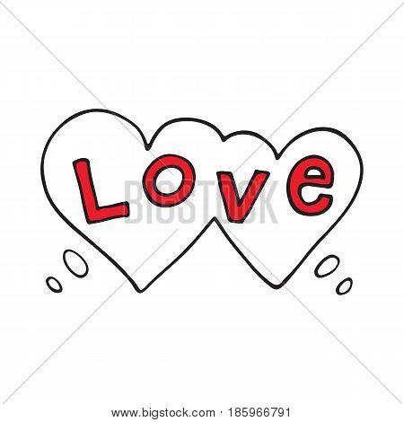 Double heart speech bubble with love word. Vector illustratio