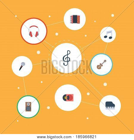 Flat Octave Keyboard, Retro Disc, Earphone And Other Vector Elements. Set Of Music Flat Symbols Also Includes Studio, Musical, Audio Objects.