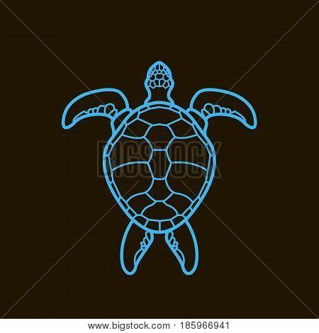 Cheloniidae. Turtle. Wildlife. Line. Symbol, icon, logo. Vector illustration.