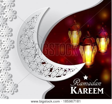 Arabic illustration of Ramadan Kareem on white and blue paper with Silhouette of mosque and hanging lights