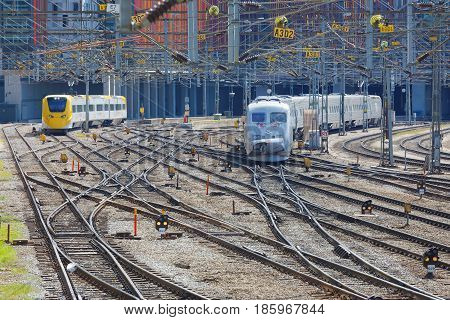 STOCKHOLM SWEDEN - MAY 01 2017: Two trains on the switchyard or marshalling yard in Stockholm. May 01 2017 in Stockholm Sweden