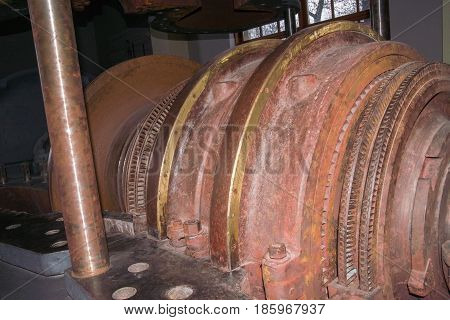 Internal rotor of a steam turbine in an old power plant.