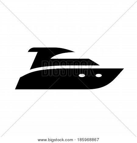 Motor boat, icon isolated on white background flat style.
