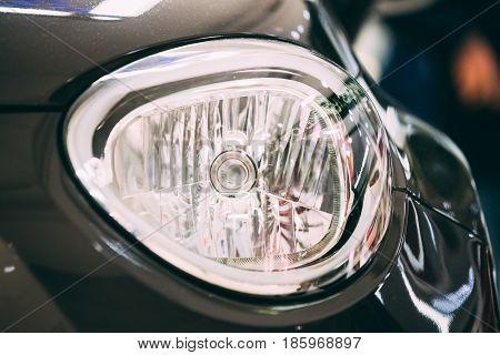 Close Up Headlight Headlamp Of New Car.