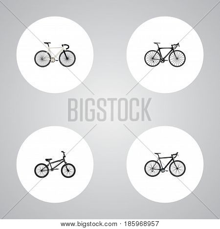 Realistic Extreme Biking, Cyclocross Drive, Exercise Riding And Other Vector Elements. Set Of Sport Realistic Symbols Also Includes Road, Bike, Cyclocross Objects.