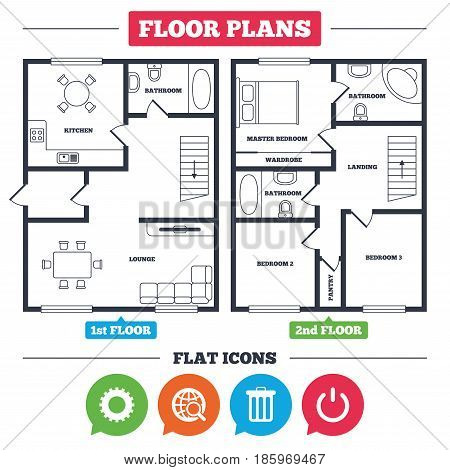 Architecture plan with furniture. House floor plan. Globe magnifier glass and cogwheel gear icons. Recycle bin delete and power sign symbols. Kitchen, lounge and bathroom. Vector