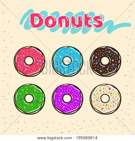 Colorful set of glazed donuts with caramel and sweets. Donuts vector set isolated on a beige background in a modern flat style. Vector illustration