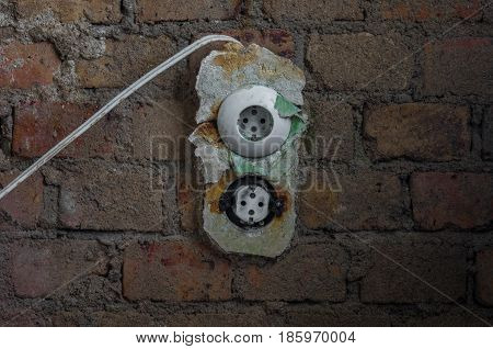The Old Electrical Outlet On Decrepit Wall, Lost Places