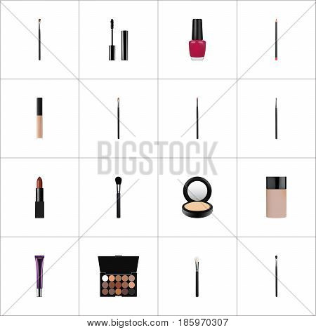 Realistic Blusher, Powder Blush, Pomade And Other Vector Elements. Set Of Greasepaint Realistic Symbols Also Includes Face, Ink, Cream Objects.