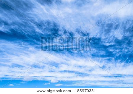 Fluffy Small Cirrostratus , Cirrocumulus And Cirrus Cloud Formations Blue Sky.