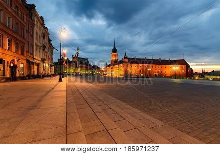 Castle square in the old town in Warsaw Poland Europe in the morning.