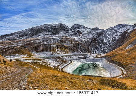 Winter landscape with two artificial lakes in Le Dévoluy Massif in Hautes-Alpes France.