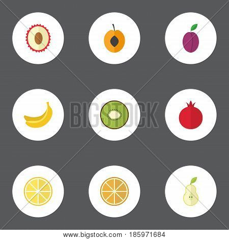 Flat Jungle Fruit, Apricot, Duchess And Other Vector Elements. Set Of Berry Flat Symbols Also Includes Lychee, Duchess, Kiwi Objects.