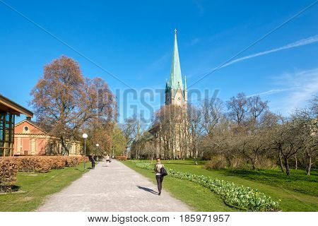 LINKOPING, SWEDEN - MAY 2, 2017: Linkoping cathedral on  a sunny spring day. The cathedral is about 800 years old.