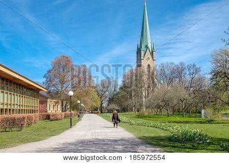 LINKOPING, SWEDEN - MAY 3, 2017: Linkoping cathedral on  a sunny spring day. The cathedral is about 800 years old.