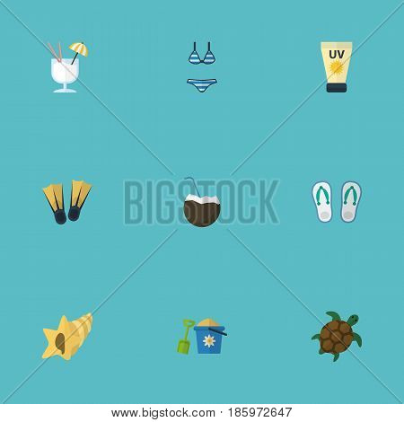 Flat Shovel, Shell, Tortoise And Other Vector Elements. Set Of Summer Flat Symbols Also Includes Sea, Cocktail, Drink Objects.