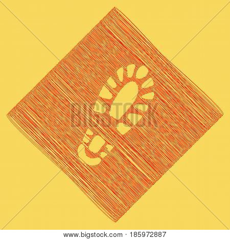 Footprint boot sign. Vector. Red scribble icon obtained as a result of subtraction rhomb and path. Royal yellow background.