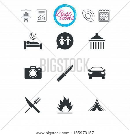 Presentation, report and calendar signs. Hiking trip icons. Camping, shower and wc toilet signs. Tourist tent, fork and knife symbols. Classic simple flat web icons. Vector