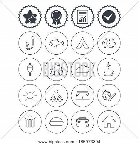 Report, check tick and award signs. Camping and fishing icons. Tourist tent, fire and match symbols. Coffee cup and hamburger. Car and house. Fish, hook and float bobber thin outline signs. Vector